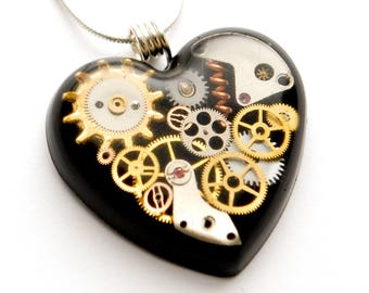 Steampunk Heart Pendant / Necklace, Watch Parts , Gears, Cogs in Resin, Black, Sterling Silver Chain
