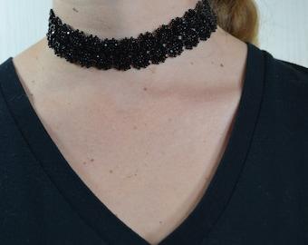 Black lacy crystal chocker