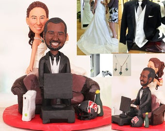 Gamer themed wedding topper - Personalised wedding topper (Free shipping)
