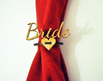 Personalised Napkin Ring Laser cut wood Wedding favour