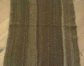 Brown handspun alpaca crochet cabled knee rug