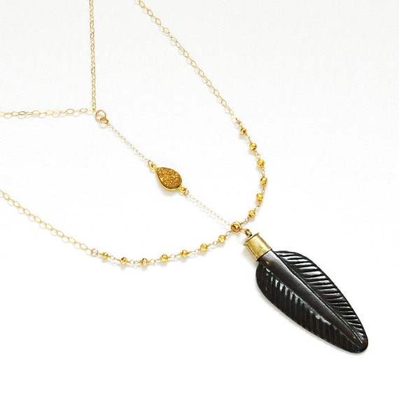 Wood carved feather pendant necklace with gold pyrite rosary chain and 14k gold filled chain