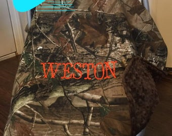 Personalized Camo Carseat canopy, monogrammed car seat cover, mossy oak camo