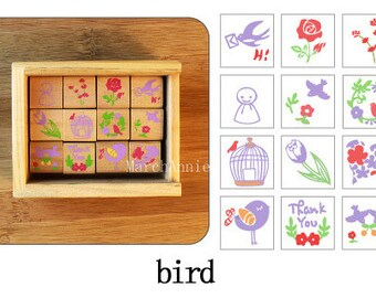 Spring birds wood stamp Set, Diary Stamp,lace stamp,floral stamp-12pcs in