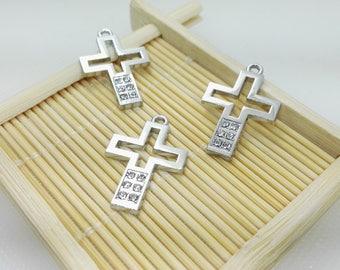 10pcs Rhodium Cross  Charms, Cross Pendants ,Cross  Jewelry