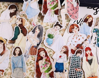 15 piece Flowers Girl Woman sticker lot Pack