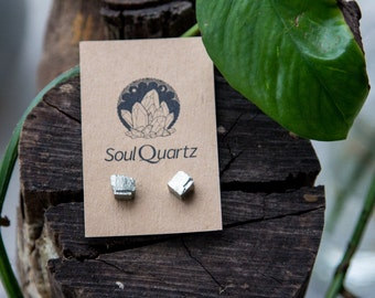 Pyrite Raw Crystal Earring Studs