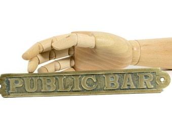 Public Bar Brass Sign