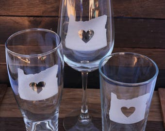 State Beer Glass, Personalized  Glasses, Engraved Beer Mugs, Engraved Wine Glasses, State Love Glassware