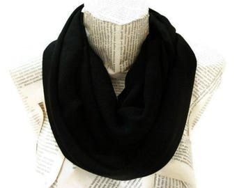 Spring Summer Black Scarf infinity, Chiffon Lightweight Soft, Tube Scarf, Black Women Accessories, Christmas Gifts Idea
