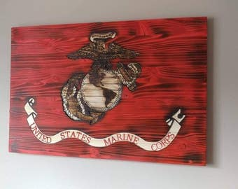 Carved wooden USMC Marine Corps Flag. Semper Fi. USA.