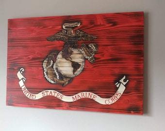 Carved wooden USMC Marine Corps Flag. Semper Fi. USA.