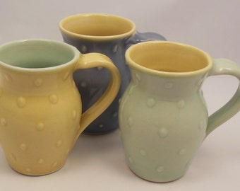 Dot Mugs - Choose from any of my 4 colors (Yellow, Celadon, Lavender, & Tangerine)! Only 20.00 each.