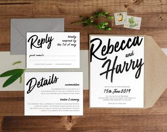 DIY Printable Modern Script Wedding Invitation Main Invitation | Save the Date | RSVP | Details | Calligraphy | Black and White