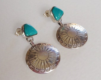 Native American Old Pawn Navajo Turquoise Sterling Silver Concho Post Dangle Earrings