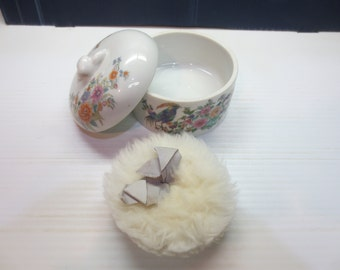 Elizabeth Arden Porcelain Covered Trinket Powder Box Bird Paradise Japan