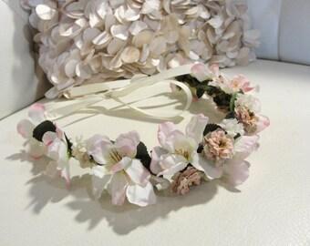 blush pink silk flower crown
