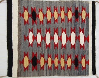Hand Woven Navajo Indian Gray White Black Red and Tan Rug