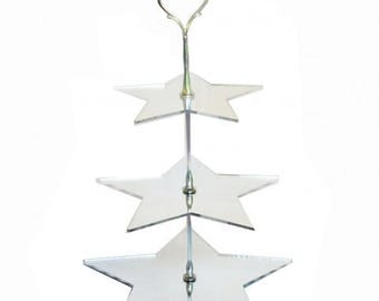 Star Shaped Three Tier Silver Rod Acrylic Cup Cake / High Tea Cake Stand - In Various Sizes and Colours