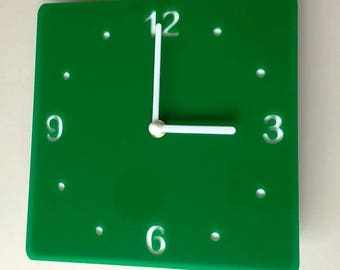 Rounded Corner Square Green & White Clock - White Acrylic Back, Green Gloss Finish Acrylic with White hands, Silent Sweep Movement
