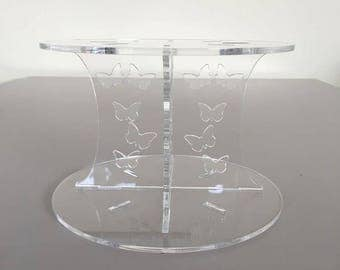"Butterfly Round Clear Acrylic Cake Pillars / Cake Separators, for Wedding / Party Cakes 10cm 4"" High, Size 6"" 7"" 8"" 9"" 10"" 11"" 12"""