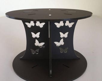 "Butterfly Round Mocha Brown Mat Acrylic Cake Pillars/Cake Separators, for Wedding / Party Cakes 10cm 4"" High, Size 6"" 7"" 8"" 9"" 10"" 11"" 12"""
