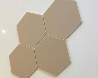 """Latte Beige Mat Acrylic Hexagon Crafting Mosaic & Wall Tiles, Sizes: 1cm to 20cm - 1"""" to 7.9"""""""