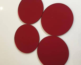 """Red Mirrored Acrylic Circles Crafting Mosaic & Wall Tiles, Sizes: 1cm to 20cm - 1"""" to 7.9"""""""