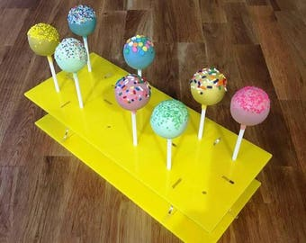 """Rectangle Yellow Gloss Acrylic Cake Pop Stands - 31x13cm - 8.5""""x5"""" (12 cakepops) or 45x16cm 17.5""""x 6"""" - (36 cakepops)"""