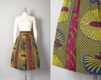 Vintage 1950s Skirt   50s Floral Print Cotton Geometric Stripes Red Yellow Full Skirt (medium)