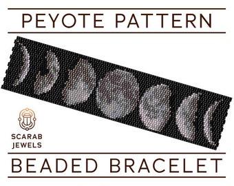 Moon Phases Pattern | Peyote Beading Bracelet | Cuff Bead Pattern | Miyuki Delica | PDF Instant Download