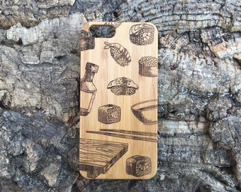 Sushi Lovers iPhone 7 Plus Case. Bamboo Wood. Sushi Rolls, Soy Sauce, Wasabi Dish, Chopsticks, Sushi Board. iMakeTheCase 7 Plus iPhone Cover