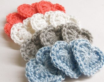 Crocheted heart appliques, 1 3/4 inches (4,5 cm), 12 pc.