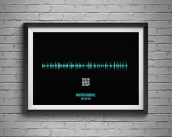 Fathers Day Gift Personalised Soundwave Poster With QR Code Ideal For Voice Recordings Or Songs A3