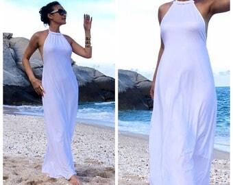 White Halter long maxi dress sun evening all size