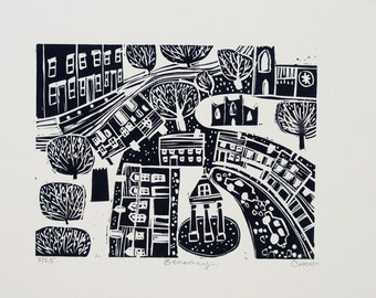 Beverley East Yorkshire Lino Print of the beautiful little market town