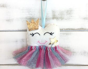 NEW! Personalized Tutu Tooth Fairy Pillow with Glitter Crown or Bow, and new addition Magic Wand. Choose your colour tutu.
