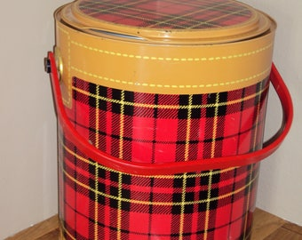 1950s Red/Tan Scotch Plaid Metal Kooler/ Mid Century Red Plaid Cooler/ Metal Cooler/ July 4th Decor/ Picnic Cooler/ 50s Decor/60s Decor