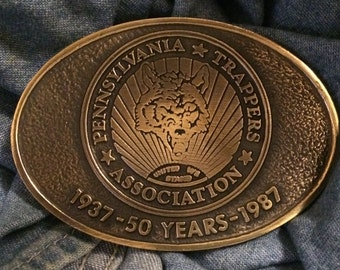 Vintage Bronze ' Pennsylvania Trappers Association ' Limited Edition #17 Belt Buckle