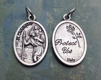 St Christopher Medal. Saint Christopher Patron Saint of Good Luck, Athletes, and Sports. Protection Medal. Catholic Pendant. Catholic Charm
