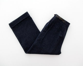 Vintage Pants // Indigo Blue High Waist Wool Pants