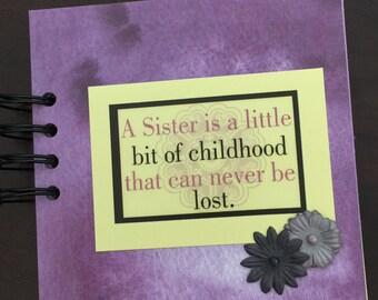 Sisters mini photo album, Sisters  5x5 photo album, Sisters mini scrapbook, Sisters brag book, Sisters mini album, premade mini scrapbook