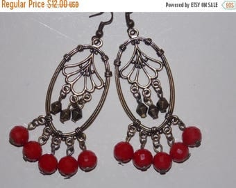 15%OFF Red Long Bronze Chandelier Earrings