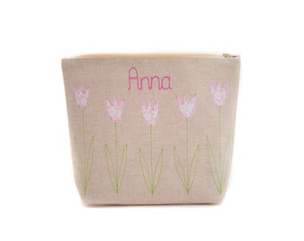Personalised Cosmetic Bag // Tulip Design // Choose your colour and fabric // Gift for Her // Birthday Gift