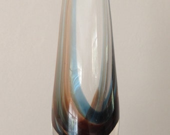 Vintage Caithness glass vase with beige and blue internal stripe
