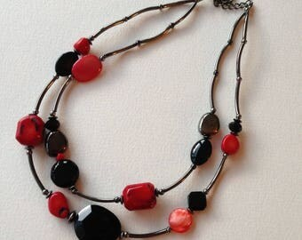 Necklace - double strand red black beaded beads necklace