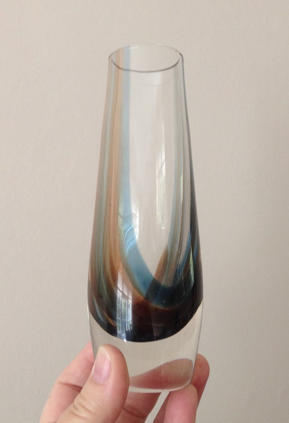 Vintage Caithness Glass Vase With Beige And Blue Internal