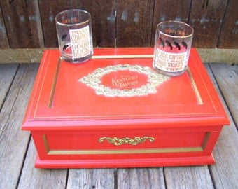 Red Old Kentucky Tavern Wood Whiskey Box,Plays Music,Holds Rock Tumblers a Shot Glass and Bottle,Liquor Box