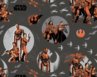 Star Wars fabric - Rouge One - Rebels - Rebels on Carbon - Camelot Fabrics - Jyn Erso, K-2SO, Cassin Andor, Baze Malbus,