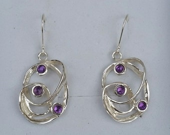 Amethyst Silver Earrings ,Sterling Silver Dangle Earrings ,Handmade Gemstones Earrings ,Women Amethyst Earrings ,Multistone Unique Earrings